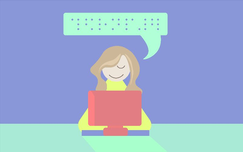 Cartoon of person in front of computer with a text bubble with braille