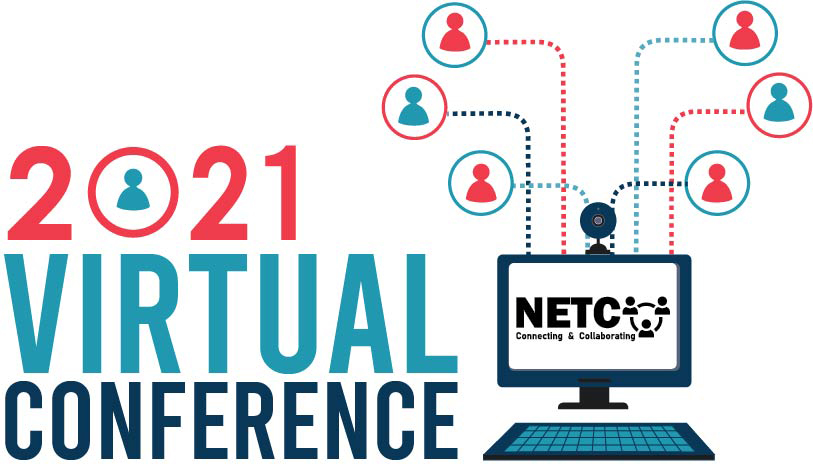 2021 Virtual conference logo with computer and NETC branding